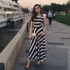 """Купить Длинное платье из шелковой вискозы """"Полоска вне времени"""" - черно-белый, в полоску"""