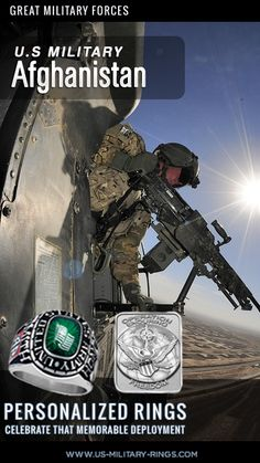 U.S. Military in Afghanistan  Attention US Veterans Help celebrate your past deployments with our personalized Veterans Rings.  Personalise online in three easy steps. see more here: http://www.military-rings.com/deployment-rings-highlight-specific-military-campaigns/  Add your old unit insignia + decals for previous deployments like operation enduring freedom  #Afghanistan #military #USmilitary #USVeterans Afghanistanwar