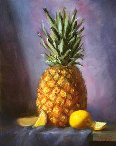 Pineapple and lemons painting. Original Oil by YanasFineArt