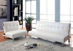 1PerfectChoice Bulle 2pc Adjustable Sofa Bed Futon Chair Sleeper White Leatherette Side Pockets *** Details can be found by clicking on the image.Note:It is affiliate link to Amazon.