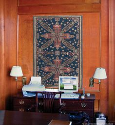 This Collectible Seichur Kuba Caucasian Rug is Stunning Displayed as Wall Art. Our antique art rugs are simply dazzling when displayed on the wall as art, as evidenced by this collectible Caucasian Seichur Kuba hanging in a gentleman's office.