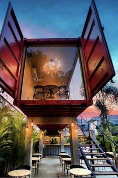 Great application of a container project used to create a restaurant - Architektur - Container Hotel, Container Restaurant, Building A Container Home, Container Buildings, Container Architecture, Architecture Design, Ideas Cabaña, Shipping Container Home Designs, Shipping Containers