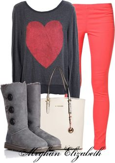 """""""Pink Leggings and gray boots"""" by meghanelizabeth13 on Polyvore"""