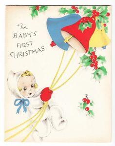 Vintage Little Girl Ringing Christmas Bells Greeting Card