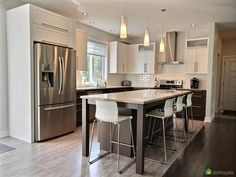 Online shopping from a great selection at Home Store. Dark Kitchen Cabinets, Kitchen Reno, Living Room Kitchen, Kitchen Countertops, Kitchen Remodel, Transition Flooring, Wood Tile Floors, Küchen Design, Modern Kitchen Design