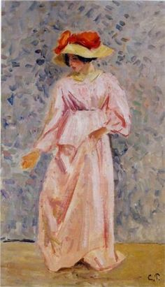 Portrait of Jeanne in a Pink Robe - Camille Pissarro. Considered the father figure of the Impressionist movement (and the only Impressionist to have participated in all of their exhibitions), Camille Pissarro (1830-1903) never let his work be defined. In later years, he would embrace the world of Seurat and Pointillism as the natural development of Impressionism. His would also be a lasting influence on artists Van Gogh, Gaugin, and Cezanne.
