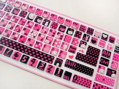 Keyboard @ pinkhairbrush.tumblr.com Bling Crystal Laptop Cover Custom Case Design Pretty Pink Fashion Modern Skin Computer Windows PC Mac Apple Macbook DIY