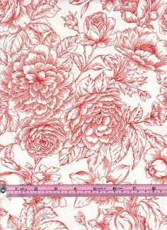 Red Flower Etched Toile Fabric