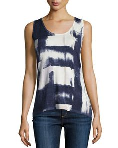 Blocked Ink Cashmere Tank  by Neiman Marcus Cashmere Collection at Neiman Marcus.