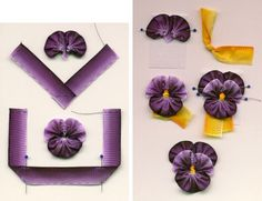 Wonderful tutorial to make ribbon Pansies