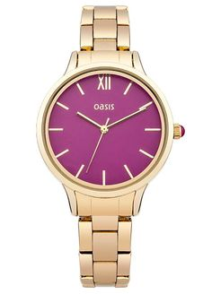Oasis Ladies Gold Tone Bracelet Watch with Pink Dial