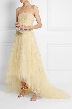 Oscar de la Renta|Strapless embellished tulle gown|NET-A-PORTER.COM