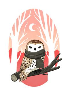 Winter Owl Art Print by Freeminds | Society6