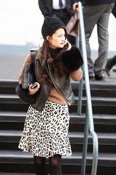 Layered outfits for winter (including a touch of leopard spots) - click for 30+ we love
