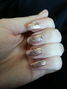 beige with green nail stamp