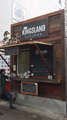 Kingsland Kitchen, a new sandwich food cart inspired by England, now open in Portland, OR. Small Coffee Shop, Coffee Shop Design, Kiosk Design, Cafe Design, Food Cart Design, Food Stall Design, Container Cafe, Food Kiosk, Bbq