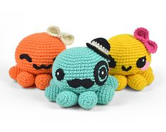 This cute little octopus is a sweet and simple plush, with a round body and eight pudgy legs. You have your option of several felt faces, or use safety eyes for an easier finish. You can also top it off with a bow or bowler hat to give it some extra character!