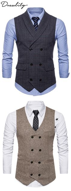Causal Vests & Waistcoats For Men Cheap Online Sale Double Breasted Waistcoat, Men's Waistcoat, Waistcoat Men Casual, Dope Fashion, Mens Fashion Suits, Fashion Outfits, Mens Suit Vest, Mens Suits, Waistcoat Designs