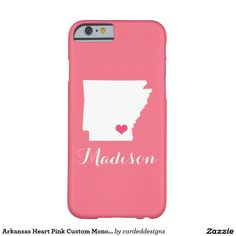 Arkansas Heart Pink Custom Monogram Barely There iPhone 6 Case
