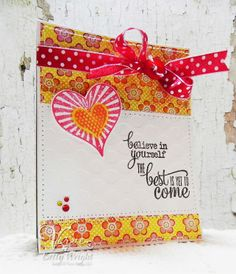 Card by Betty Wright using Verve's More Than Love and Let It Be stamp sets along with Verve's Cut Above Wavy Hearts die set.  Betty finishes her card with a  simple bow using the Red/White ribbon from Verve's Red White and Beautiful Ribbon Collection.