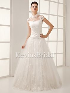 Poofy Dropped Waist High Neck Spring Long A-Line Beaded Wedding Dress - US$ 164.69 - Style KB0743 - Kevins Bridal