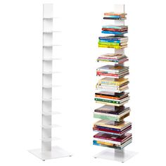 White Sapien Bookcase. Love this simple vertical shelf. Has a small footprint but holds up to 50 books! Perfect for a small space. From The Container Store - now shipping to the UK