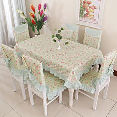 Find More Information About Dinner Table And Chair Cloth Green Pink Girls Cushion Seat Cover Set Brief Kitchenwear Floral Flower 13pcs