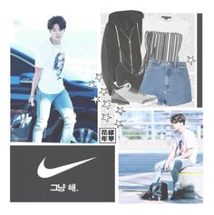 """""""Outro: Luv in Skool--- BTS"""" by alicejean123 ❤ liked on Polyvore featuring DRKSHDW, Alexander Wang, NIKE and Glamorous"""