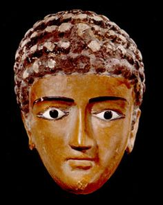 """Egyptian Painted Plaster Funerary Mask of a Man - X.0177 Origin: Egypt Circa: 1 st Century AD to 2 nd Century AD  Dimensions: 9.625"""" (24.4cm) high  Collection: Egyptian Style: Roman Period Medium: Plaster, Glass"""