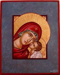 Theotokos w/ blue frame - Maria Hatjivasiliou
