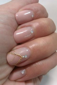 Quite like the nude glossy nail with a little clear stone at the cuticle. Subtle effect.