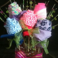 Panty bouquet for a lingerie bridal shower.