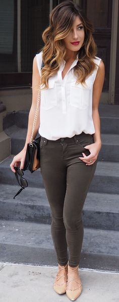 Olive Green Jeggins Fall Streetstyle Inspo by Le Fashion Monster