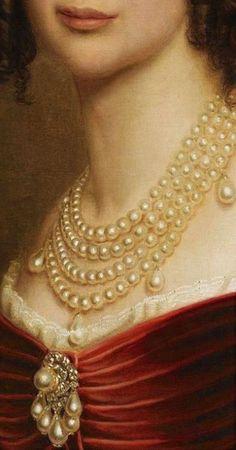 Joseph Karl Stiele, Maria Anna of Bavaria 1842 detail Renaissance Paintings, Renaissance Art, Royal Jewels, Royal Red, Classical Art, Detail Art, Marie Antoinette, Aesthetic Art, Pearl Jewelry
