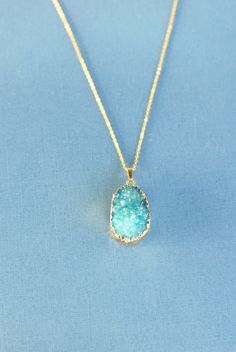 Blue Druzy Necklace Aqua Duzy Necklace by CharlotteCoutureGlam