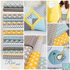 These are nice cool summer colors.  Especially like the design on the pillow in the middle. (Could use an Ikea pillow base and make this as a cover?)