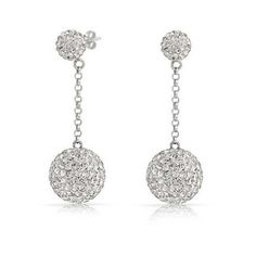 Bling Jewelry White Crystal Disco Ball Shamballa Inspired Dangle... ($21) ❤ liked on Polyvore featuring jewelry, earrings, clear, bridal jewelry, disco ball earrings, bridal earrings, silver dangle earrings and dangle earrings