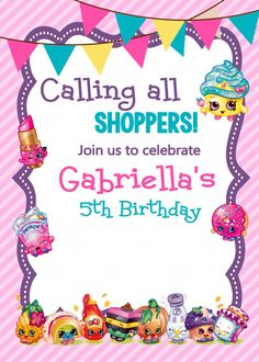 Adorable Shopkins printable invitations via Etsy - Shopkins birthday party