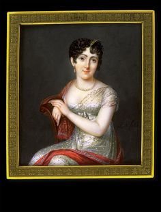 Félicité Laborey, Lady in White Dress with Red Cashmere Shawl, ca. 1805