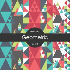 Geometric Triangles Digital Paper Pack set of 8 by SaGeExpressive, $5.00