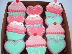 #Valentine cupcake #cookies {Flour Box Bakery}