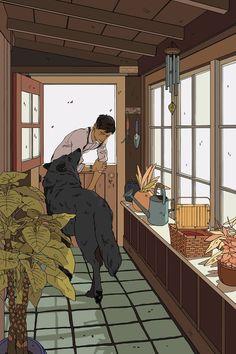 The Mudroom Wolf Artwork by Cassandra Jean - X-Small Art Anime, Anime Kunst, Inspiration Art, Art Inspo, Art And Illustration, Aesthetic Anime, Aesthetic Art, Pretty Art, Cute Art