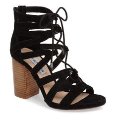 Women's Steve Madden Gwyneth Sandal (1.690 ARS) ❤ liked on Polyvore featuring shoes, sandals, black suede, suede sandals, block heel shoes, black shoes, steve madden sandals and black block heel sandals