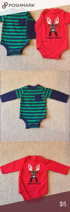 "Okie Dokie long-sleeve onesies - Size 6M Okie Dokie long-sleeve onesies - Size 6M.  1 blue/green striped with pocket and two snaps at shoulder, 1 red with moose & ""moose-stache"" and two snaps on the back.  Gently used. Okie Dokie One Pieces Bodysuits"