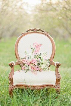 re-appolster old chairs from goodwill and make beautiful photography props.  anemone wedding bouquet by Flowers at Will