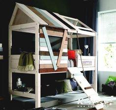 Lit cabane garçon 90x200 à plan incliné, Chambres et lits, Mouscron | Kapaza.be