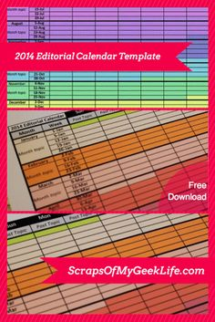 2014 Editorial Calendar Template Free Download