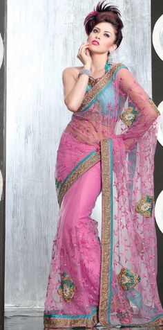 Pink Net Saree 18987 With Unstitched Blouse