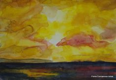 Golden Galway Bay Sunset by Fiona Concannon on ArtClick. Watercolour Painting, My Images, Giclee Print, Sunset, Antiques, Artist, Prints, Ireland, Sunsets