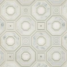 "Seville Bianco Glass and Stone Water Jet Mosaic  11-7/16"" X 11-7/16"" X 3/8"" (0.90 SF) interlocking sheets"